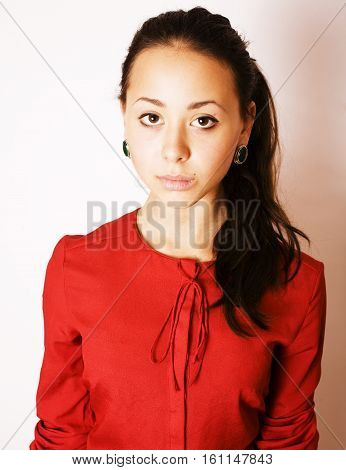 young pretty brunette woman smiling happy on white background, livestyle people concept close up
