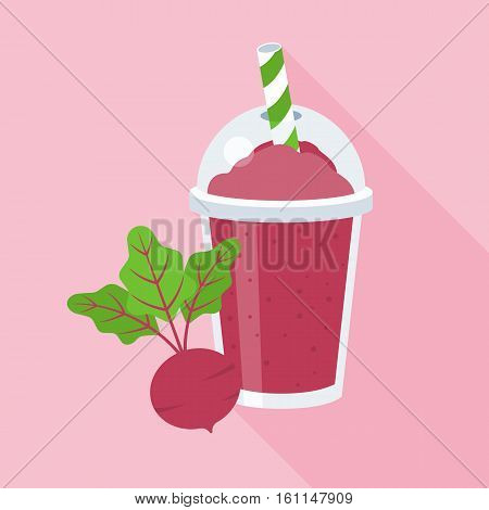 Beetroot smoothie or juice in plastic glass with beetroot, flat design with long shadow