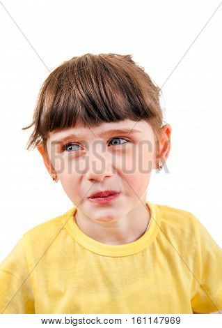 Sad Small Girl Portrait Isolated on the White Background
