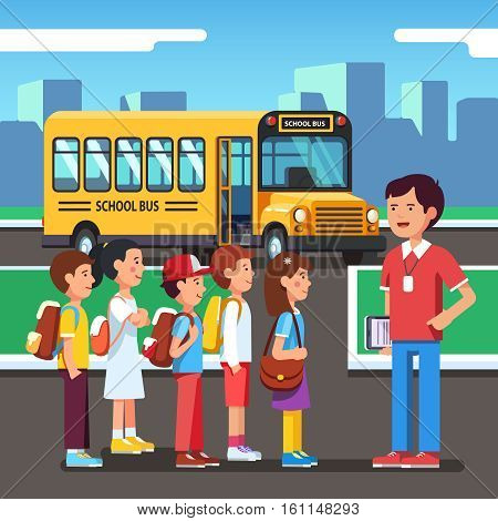 Kids listening to teacher training before bearding school bus. Pupils going to a city road trip. Colorful flat style cartoon vector illustration.