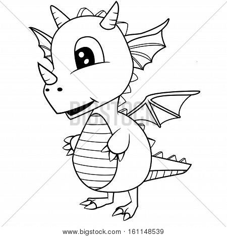 Illustration of Cute Black and White Cartoon Baby Dragon.Vector EPS 8.black, white, black and white,extinct, lizard, baby,  cartoon, cute, illustration,  horn, prehistoric, art, isolated, wildlife, tail, era, eyes, smile, science, cheerful, reptile, happy