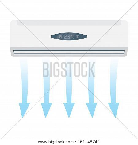 Best air conditioner on white background with cold air vector illustration