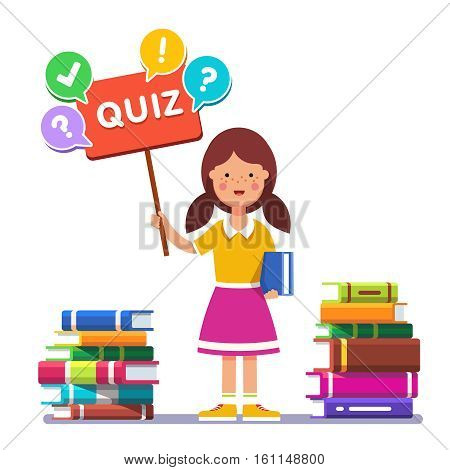Smart school girl standing near piles of books and holding quiz placard with question mark. Young book reader and erudite ready to play answer game. Flat style vector illustration.