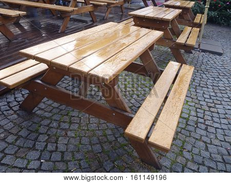 Empty Outdoor Fastfood Tables With Bench