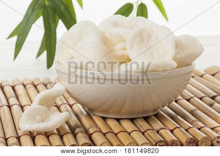 Bowl of Krupuk, Indonesian prawn crackers