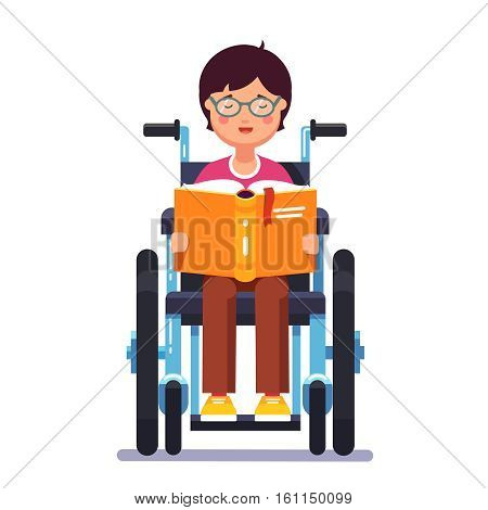 Cute disabled boy kid sitting in a wheelchair and reading a book. Handicapped person. Colorful flat style cartoon vector illustration.