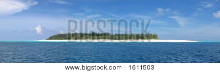 Blue See And White Sand Of The Mnemba Atoll, Zanzibar, Tanzania, Panorama