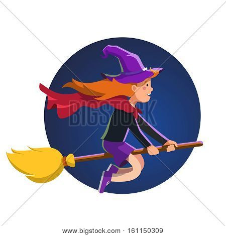 Cute little witch girl in the witches hat flying fast at night on her broom stick with red waving cape. Halloween holiday poster concept. Colorful flat style cartoon vector illustration.