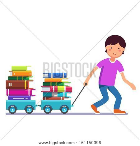 School boy kid pulling wagon cart with pile of books. Little pupil hungry for knowledge. Colorful flat style cartoon vector illustration isolated on white background.