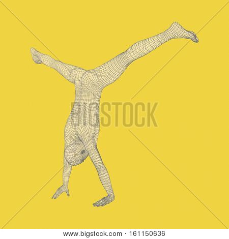 Sporty man doing handstand exercise. Gymnast. 3D model of man. Human body model. Gymnastics activities for icon health and fitness community.