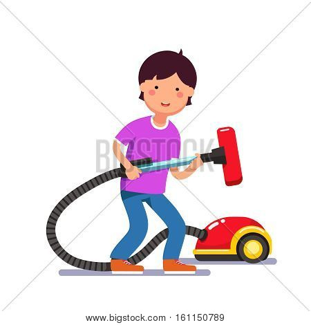 Young boy kid holding electric vacuum cleaner pipe in his hands ready for house cleaning chores. Colorful flat style cartoon vector illustration.