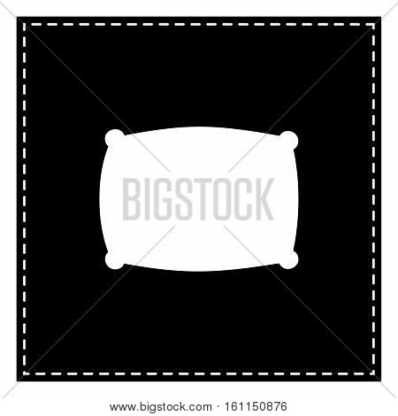 Pillow Sign Illustration. Black Patch On White Background. Isola
