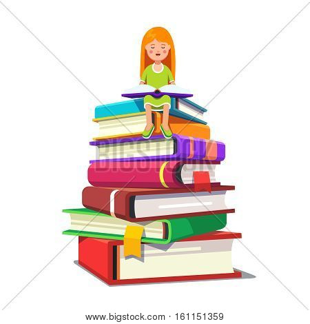 Little girl sitting on a pile of big books and reading opened tome. Smart kid learning knowledge concept. Colorful flat style cartoon vector illustration.