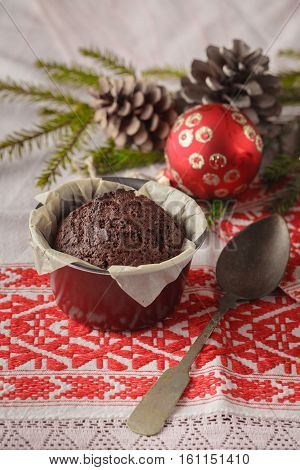 Christmas And New Year Winter Holiday Composition Of Two Cakes On Snowbound Wooden Space Background