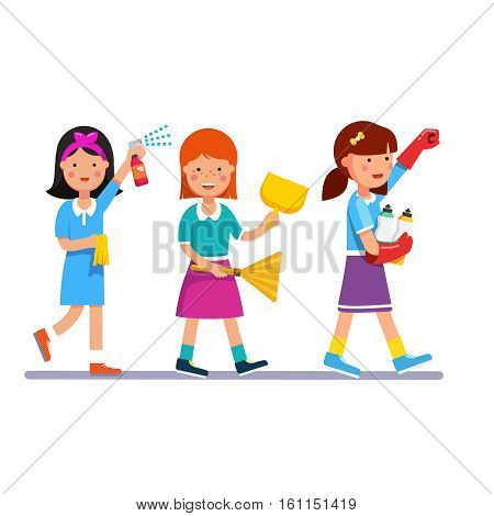 Kids cleaning team doing household chores. Inspired girls cleaners walking in row line with brooms and detergents. Colorful flat style cartoon vector illustration.
