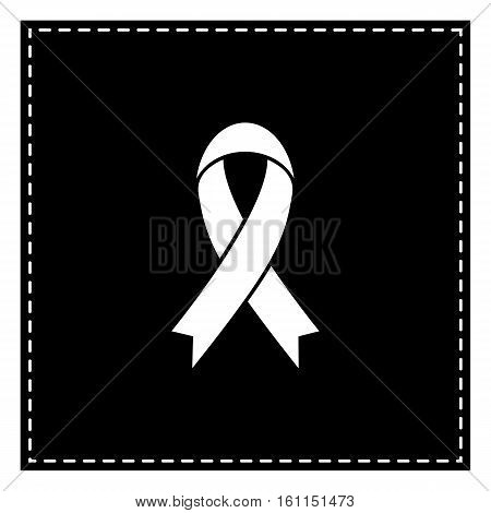 Black Awareness Ribbon Sign. Black Patch On White Background. Is