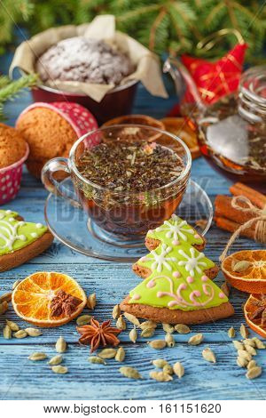 Gingerbread And Star Anise With Cinnamon Sticks And Christmas Decoration