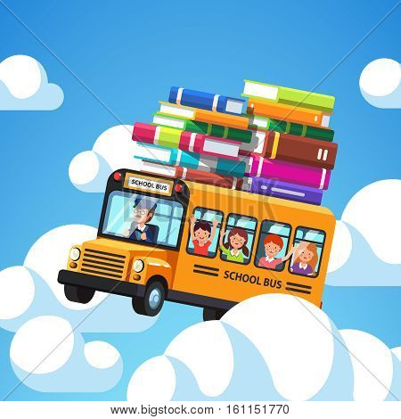 School bus with driver and kids riding high in the blue sky clouds. Books baggage on the roof of the bus. Exiting knowledge concept. Flat style cartoon vector illustration.