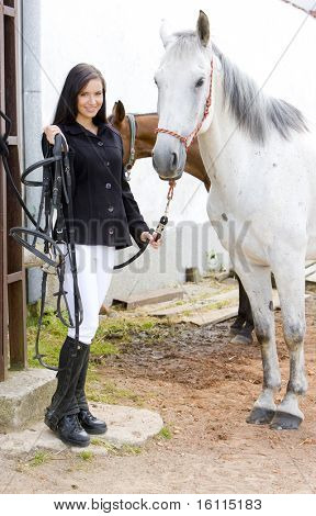 equestrian with horse poster
