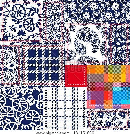 Textile collage. Checkered, floral patterns. Seamless paisleys print, abstract flowers. Indian, Turkish, Chinese floral ornaments.