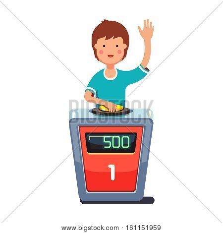 School kid playing quiz game answering question standing at the stand with button. Boy pressed the buzzer first and raised hand up. Colorful flat style cartoon vector illustration.