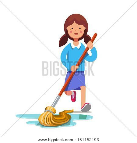 Kid cleaning floor with dust mop wet broom. Inspired girl doing household chores. Colorful flat style cartoon vector illustration.