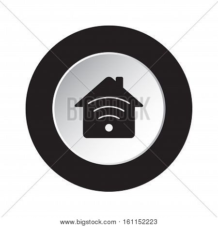 isolated round black and white button - black house with signal icon