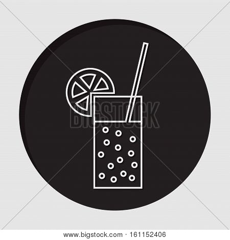 information icon - black circle with white glass with carbonated drink straw and citrus and shadow
