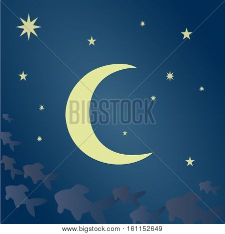 Blue sky with stars, big bright moon. Fantasy clouds in the form of a fabulous fish. Vector illustration suitable for illustrating the mysterious, mystical nights, unusual and enigmatic stories, etc.