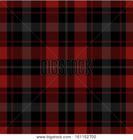 seamless illustration - red black tartan with squares and white stripes