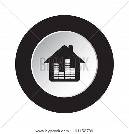 isolated round black and white button - black house with equalizer icon