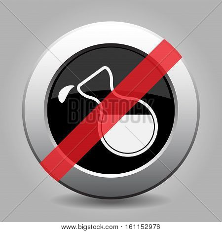 Black and gray metallic button with shadow. White flask with a drop banned icon.