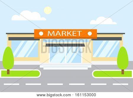 Market. Shop, store. Super market on the street.