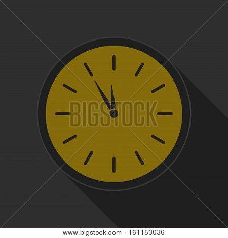 yellow round button with black last minute clock icon and long shadow