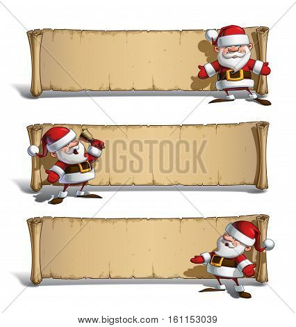 Set of vector Cartoon illustrations of a smiling happy Santa Claus presenting and announcing Christmas in front of an aged blank scroll. All elements on well-defined Layers and groups for easy editing