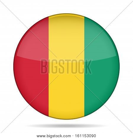 National flag of Guinea. Shiny round button with shadow.