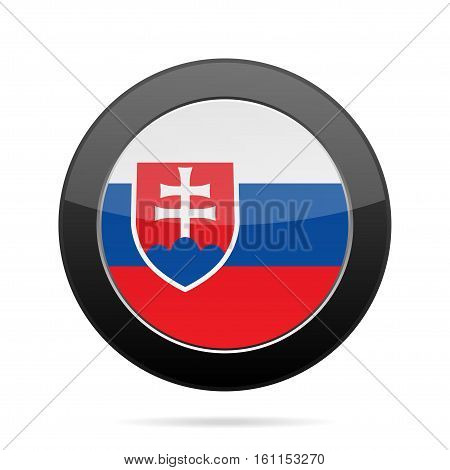 National flag of Slovakia. Shiny black round button with shadow.