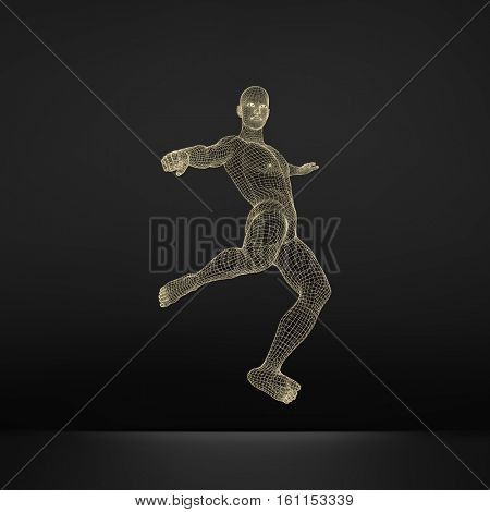 Football player. Sports concept. 3D Model of Man. Human Body. Sport Symbol. Design Element. Vector Illustration.