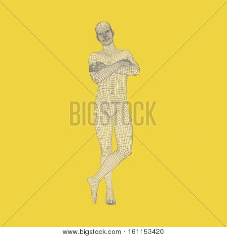 Man Stands on his Feet. Man Crossing His Arms Over His Chest. 3D Human Body Model. Design Element. Vector Illustration.