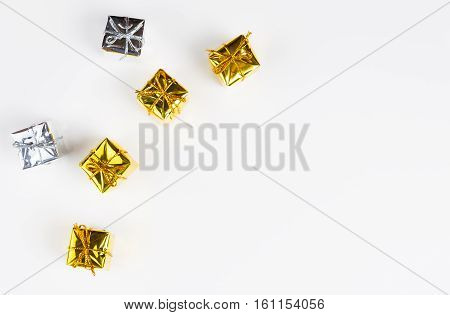Christmas gifts isolated on white background. Top view with copy space