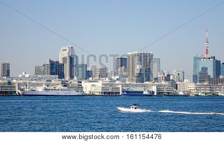 Buildings In Tokyo Bay, View From Odaiba Island