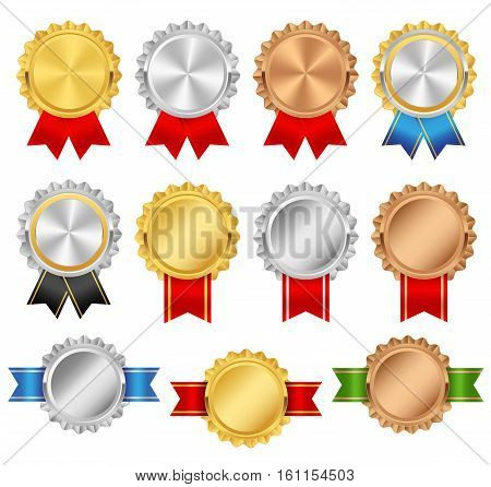 Rosettes with red green blue black ribbons. Rosette premium vector set. Golden silver bronze trophy award collection.
