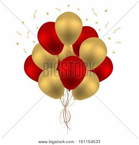 Bunch of Birthday Balloons Flying for Party and Celebrations Isolated in White Background. Vector Illustration - stock 3d Realistic Colorful Red and Golden Balloon Vector With Space for Message.