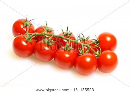 Panicle with tomatoes on a white cutting board made of plastic