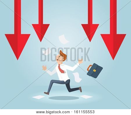 Businessman running out of business arrow falling. Businessman running from a failed plan.