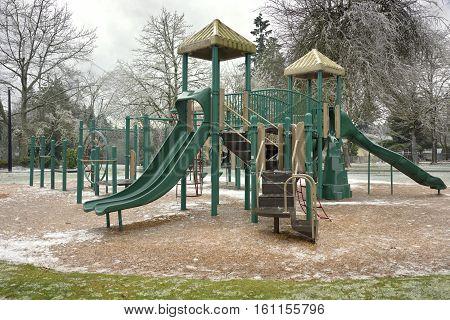 Frozen public playground and park Gresham Oregon.