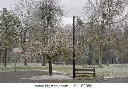 Frozen landscape public park in Gresham Oregon.