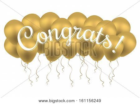 Bunch of balloons with text Congrats. Congratulations Banner. Win, Birthday Party, Sale, Opening, Holiday and Kid Design. Lettering Typography. Vector Greeting Card.