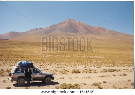 Four Wheels Jeep Stopped In The Desert, Uyuni, Bolivia
