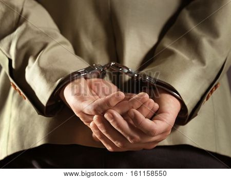 Man in handcuffs, closeup